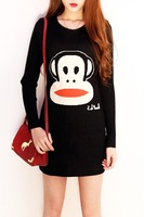 Vintage sweet cartoon monkey pattern slim basic sweater a one-piece dress