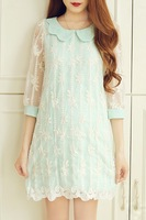 Vintage elegant peter pan collar sweet lace embroidery flower turn-down collar mint green chiffon  dress