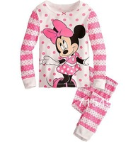 New 2014 Children's Baby pajamas baby girls Minnie Pyjamas suits Kids pjs blue shirts+ striped pants hello kitty 6sets/lot