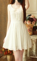 Princess vintage lace peter pan collar pearl single breasted slim waist high waist sleeveless basic one-piece dress