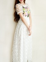 free shipping 2014 summer stereo fashion long design cutout sweet lace girl dress