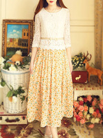 2014 summer vintage elegant fashion sweet lace chiffon long design summer dress