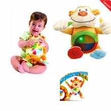 New 2014 Multifunctional Baby Toys Baby Mobile Cute Monkey Design Musical Flashing Stuffed Animals Plush Toy Free Shipping(China (Mainland))