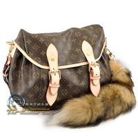 design classic brown fashion medium BLUE  SUNRISE FOXTAIL MESSENGER HANDBAG BAG M95863