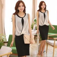 new 2014 women summer dress stretchable sleeveless ladies work wear two piece set ol knee length black dress free shipping