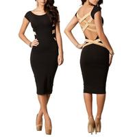 2014 Women Sexy Knee Length Black Bodycon Bandage Dress Celebrity Off Shoulder Party  Elegant  Dress Size S-M-L-XL E1420-50#M1