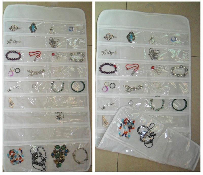 72 Unit Pocket Double Sided Hanging Jewelry Organizer Storage Bag Case Holder 54746