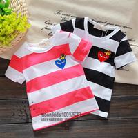 2014 boys summer clothing baby stripe short-sleeve T-shirt 100% infant cotton top short-sleeve