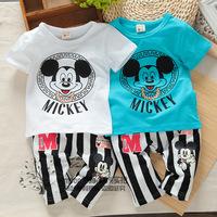 2014 summer hot-selling 1 2 3 - - - 4 male female child set baby short-sleeve T-shirt capris
