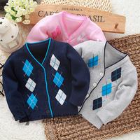 0 3 4 - - - - 5 6 100% baby knitted cotton spring infant V-neck cardigan set