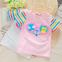 Summer 2014 100% cotton short-sleeve T-shirt infant stripe o-neck top cartoon T-shirt