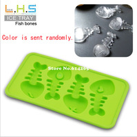 Frozen Silicone Fish Bone Shaped Ice Cube Trays Mold Maker 10PCS/lot TM07011A