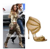 2014 New Sexy Open Toe Glitter-coated Gladiator Sandals Thin High Heels Women Pumps Brand Designer Summer Shoes Woman
