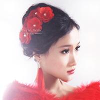 Red flower bride hair accessory dance shrna wedding dress pearl hair accessory wedding dress cheongsam hair accessory