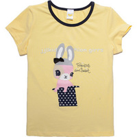 Girls Summer Short Sleeve Cartoon Print O-Neck Collar Colorful T-shirts Tops,Free Shipping  K6372