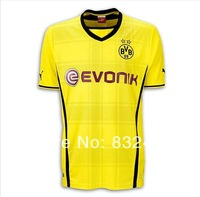 Borussia Dortmund 13/14 top Thai quality HOME YELLOW AWAY BLACK REUS Gundogan LEWANDOWSKI HUMMELS SAHIN Soccer Jersey BVB uefa