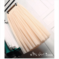 2014 new two usage women's spring and summer expansion bottom gauze puff bust pleated princess tulle long full chiffon skirt