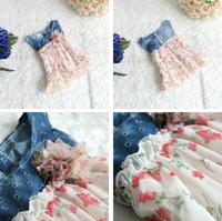 2014 new summer free shipping Children lace demin sleeveless princess dress baby girl lovely flower kid clothing 4pcs/lot