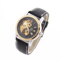 1Pcs New Men Wristwatches Fashion Quartz Watch Leather Skeleton Watch Dropship