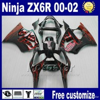 Wholesale - 7gifts NEW! fairing kit for kawasaki ninja ZX 6R 636 ZX-6R 2000 2001 2002 ZX636 ZX6R 00-02 ZX-636 red flame black fa