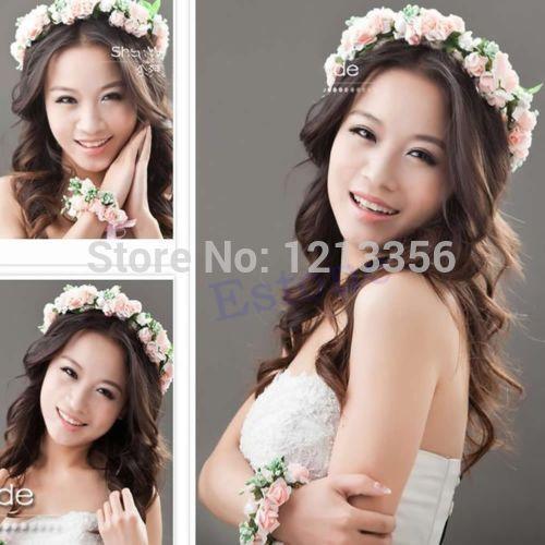"U95""Free Shipping 1PC Bride Wedding Hair Band Type Bridal Wreath Holder Hoop Pink / White Sale(China (Mainland))"