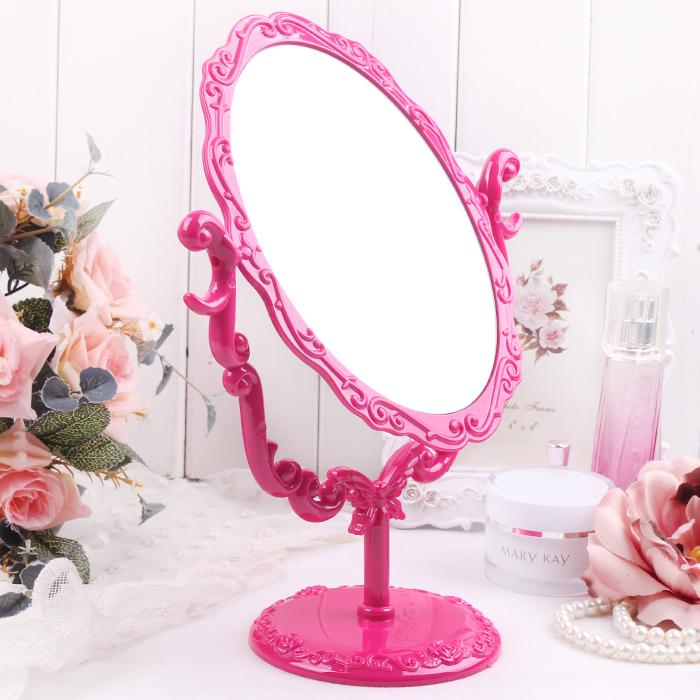 spedizione gratuita lo specchio del rosso specchio da tavolo ovale parrucchiere specchio europeo sul desktop specchio per il trucco