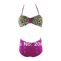 Promotion Highwaisted Leopard Swimwear Fashion Sexy Bikini Set Push Up  Cheap Sexy Swimsuits Bikini Brands Free shipping 1417C