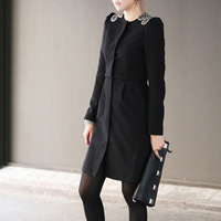 Casacos femininos 2014 Woman Coat,New Women's Slim Wool blended Single-breasted Coat female Winter autumn black XL/XXL  F008