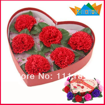 6pcs Small Flowers Carnation Soap Kit Gift for Mother's Day(China (Mainland))