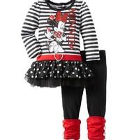 2014 Spring New Baby Girls Blouse t-shirts Clothing Sets Kids Minnie t shirts Legging Pants 2pcs Clothes Set Girls' Winter Wear