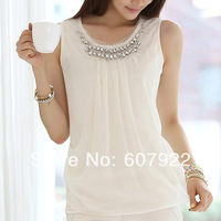 New 2014 Spring Summer Elegant Beading Sheer Chiffon Vest Blouse Sleeveless Career Lady Shirt Top Plus Size XXL For Women 329302