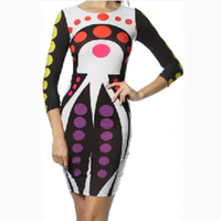 2014 Fashion tight dress Printing O-neck long sleeve  Multi-color spots tight dress