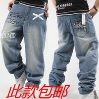 The trend of the water wash hiphop jeans hiphop hip-hop pants skateboard pants male trousers loose thin jeans