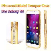 10pcs/lot DHL Free Luxury Crystal Rhinestone Metal Case For Samsung Galaxy S5 i9600 S4 Diamond Gold Slim Bling Case