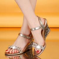 2014 New Hot Selling Women's Fashion Genuine Leather High Heels Sandal Lady Sexy Rhinestone Decor Summer Shoes Free Shipping