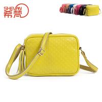 2013 women's genuine leather handbag candy color tassel small bag embossed cowhide shoulder bag messenger bag