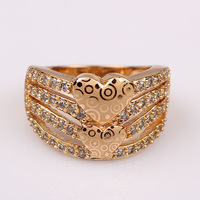 womens ring 18k yellow gold filled heart shape lover's ring fashion jewelry size 8
