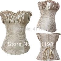 2014 new design women fashion corsets and bustiers Creamy Lvory Renaissance1602 Satin Lacing Corset Top black 3 color  plus size