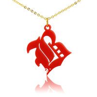 Old English Font Personalized Initial Necklace Name Necklace One letter Red Monogram Initial Pendant