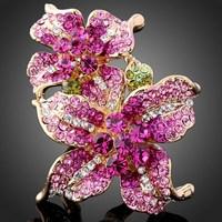 Luxury Beautiful Royal Princess 24K Gold Plated Wedding Austrian Crystal Flower Ring J01087