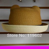Cat ears strawhat summer women's strawhat sunbonnet summer child fedoras bear parent-child cap HAT143