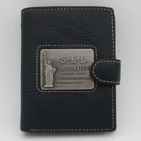 Mens Gentlemen Black Real Genuine Leather Wallet Bifold Zipper Clutch ID Credit Card Slots Coin Pouch Checkbook Standard Purse
