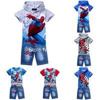retail spiderman kids clothing sets,fashion cartoon children summer shirt jeans shorts set,baby toddler boys tees pant suit