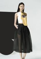 2014 Big Eyes on Face Contrast Irregular Short Top Blouse Shirt Black Long Transparent Skirt Dress Party Summer Women's Set