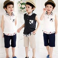 Free Shipping 2pcs/set Male Sleeveless Child clothing Set New 2014 Summer Plaid Boy Casual Set Kids Baby Summer Set