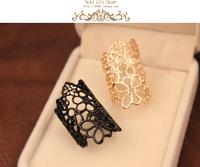 AliExpress cheap sale Stylish women rings hollow embossed roses wedding jewelry factory wholesale B3
