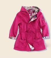 Best quality 2014 spring and autumn girl's trench double wear girls jacket children outwear flower kids windbreaker coat