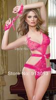 Newest Sexy Lingerie Heart Print Stretch Mesh Teddy Restraints One Piece Sleepwear,Underwear ,Uniform , Costume 9136