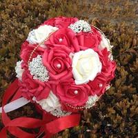Red Bride 's Bouquet Romantic Wedding Colorful  Rose Flower Wedding