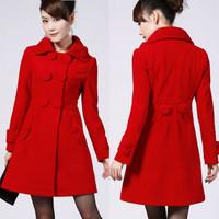New 2014 autumn and winter long wool coat Emboss design wool woolen overcoat Black&purple&red winter dress  Drop Free shipping